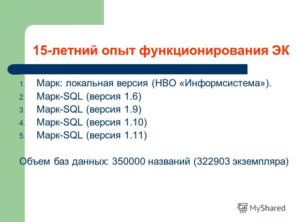 15-летний опыт функционирования ЭК 1. Марк: локальная версия (НВО «Информсистема»). 2. Марк-SQL (версия 1.6) 3. Марк-SQL (версия 1.9) 4. Марк-SQL (версия 1.10) 5. Марк-SQL (версия 1.11) Объем баз данных: 350000 названий (322903 экземпляра)