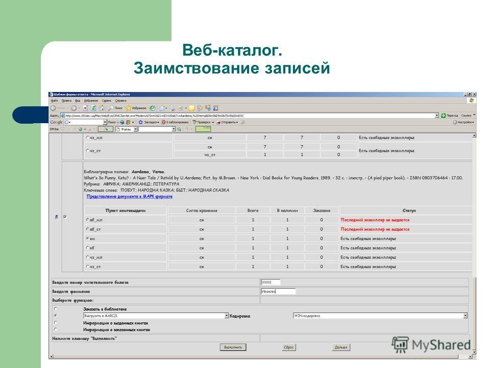 Веб-каталог. Заимствование записей