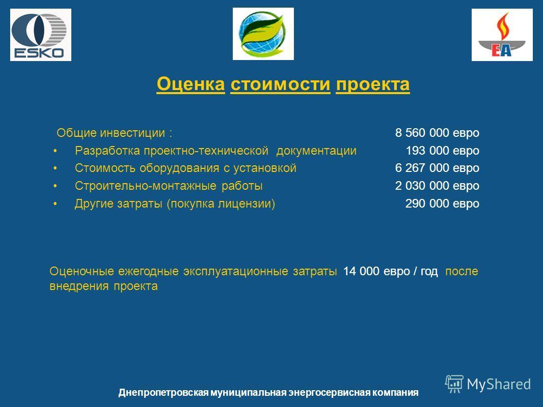 Общие инвестиции : 8 560 000 евро Разработка проектно-технической документации 193 000 евро Стоимость оборудования с установкой 6 267 000 евро Строительно-монтажные работы 2 030 000 евро Другие затраты (покупка лицензии) 290 000 евро Днепропетровская