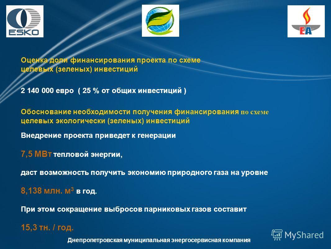 Днепропетровская муниципальная энергосервисная компания Оценка доли финансирования проекта по схеме целевых (зеленых) инвестиций 2 140 000 евро ( 25 % от общих инвестиций ) Обоснование необходимости получения финансирования по схеме целевых экологиче