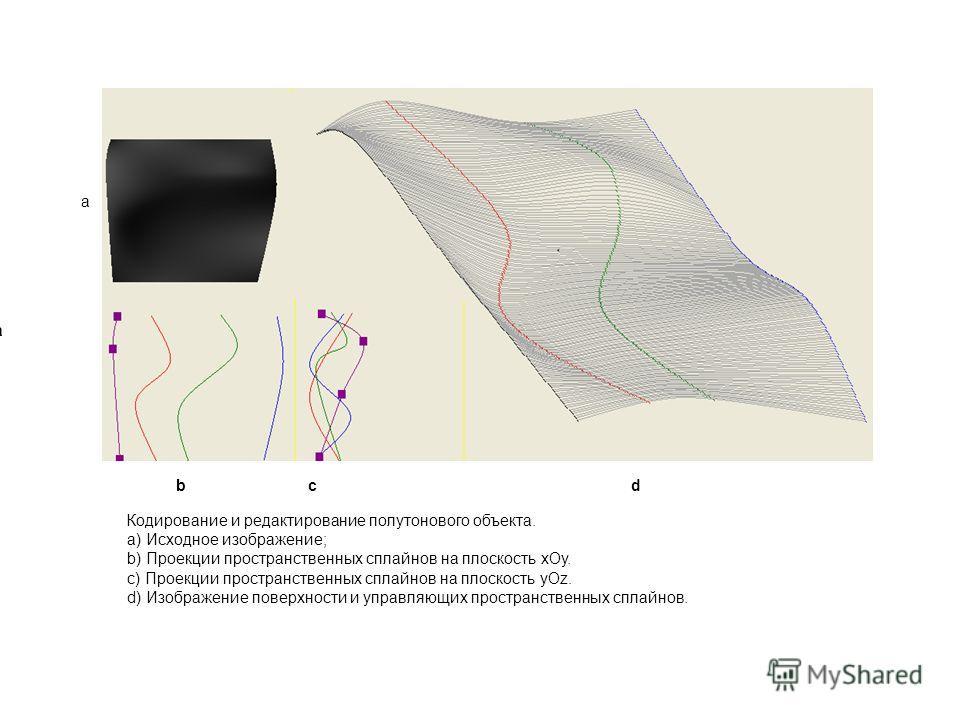 a b c d Кодирование и редактирование полутонового объекта. а) Исходное изображение; b) Проекции пространственных сплайнов на плоскость хОу. c) Проекции пространственных сплайнов на плоскость yОz. d) Изображение поверхности и управляющих пространствен