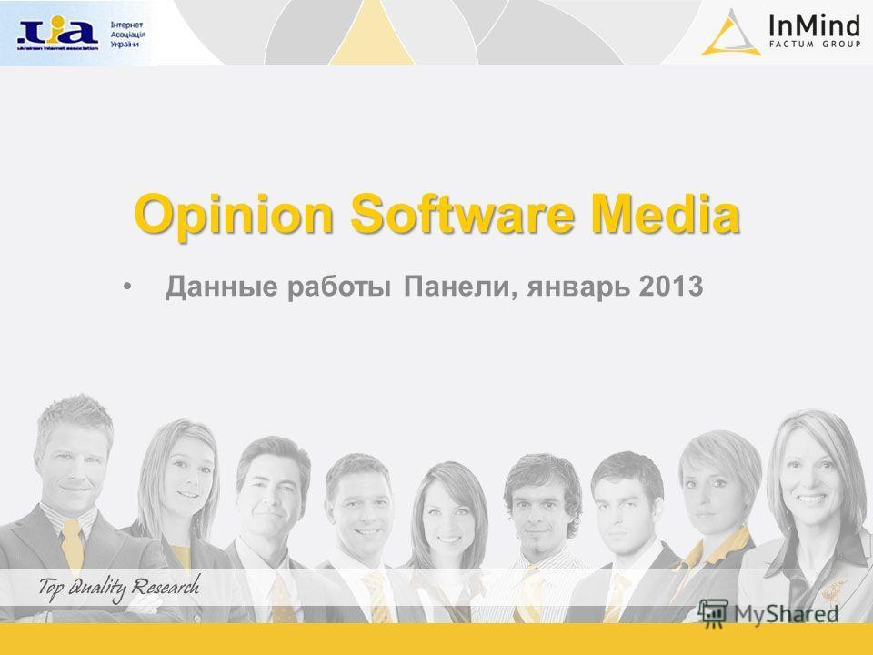 Opinion Software Media Данные работы Панели, январь 2013