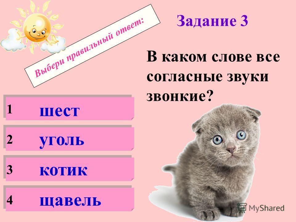 Выбери правильный ответ: Задание 2 Какое слово неверно разделено для переноса? 1 2 3 4 ка-мень кош-ка конь-ки ча-йник