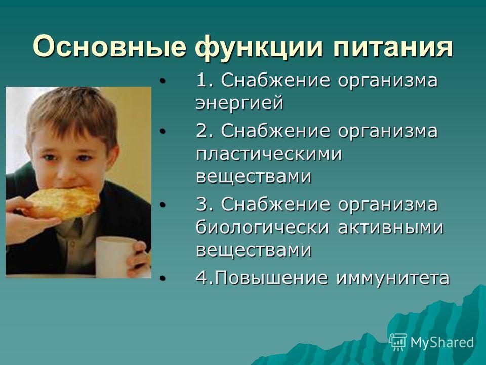 Основные функции питания 1. Снабжение организма энергией 1. Снабжение организма энергией 2. Снабжение организма пластическими веществами 2. Снабжение организма пластическими веществами 3. Снабжение организма биологически активными веществами 3. Снабж