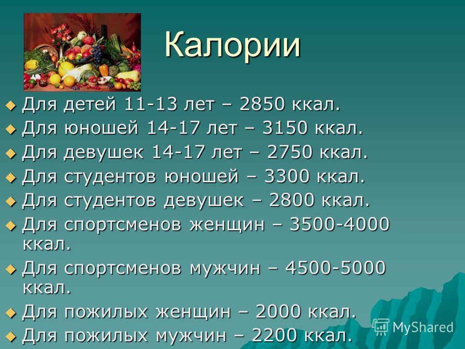 Калории Для детей 11-13 лет – 2850 ккал. Для детей 11-13 лет – 2850 ккал. Для юношей 14-17 лет – 3150 ккал. Для юношей 14-17 лет – 3150 ккал. Для девушек 14-17 лет – 2750 ккал. Для девушек 14-17 лет – 2750 ккал. Для студентов юношей – 3300 ккал. Для