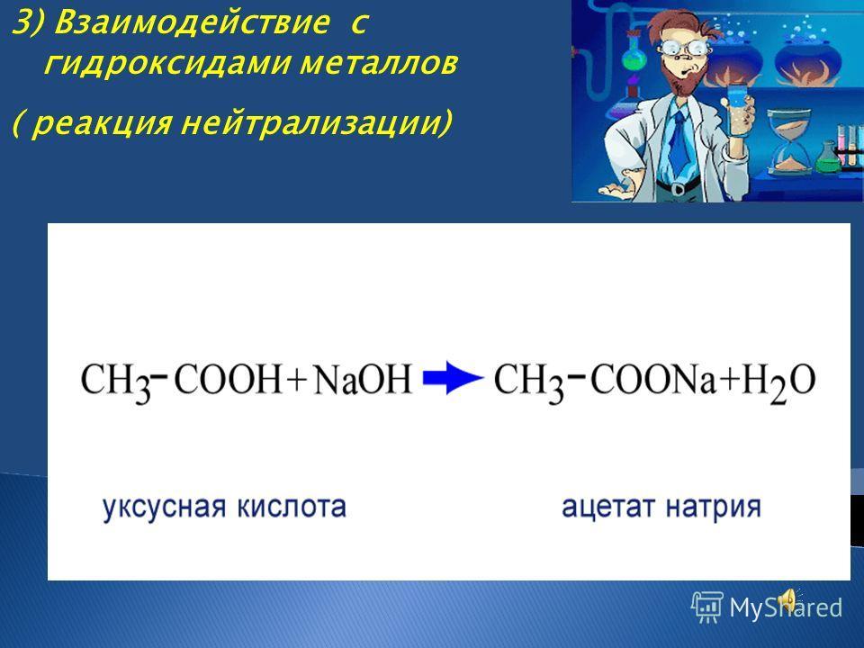 3) Взаимодействие с гидроксидами металлов ( реакция нейтрализации)