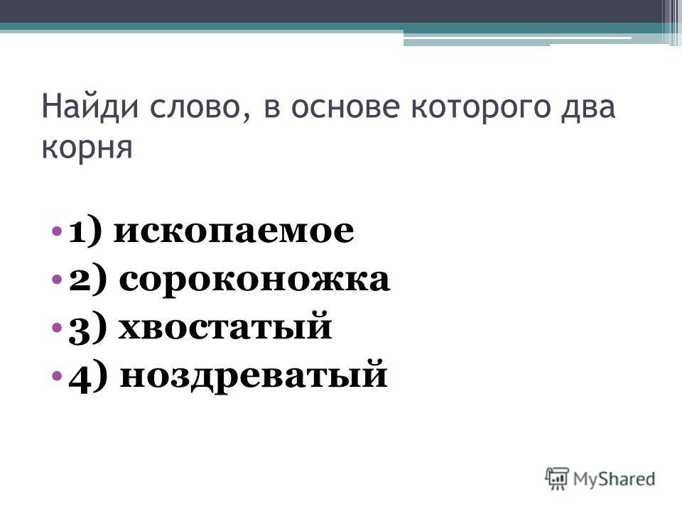 Найди слово, в основе которого два корня 1) ископаемое 2) сороконожка 3) хвостатый 4) ноздреватый