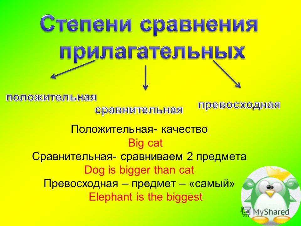 Положительная- качество Big cat Сравнительная- сравниваем 2 предмета Dog is bigger than cat Превосходная – предмет – «самый» Elephant is the biggest