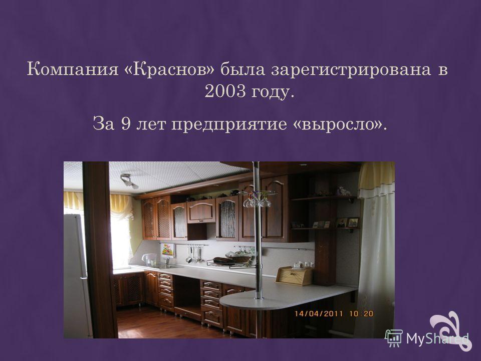 Компания «Краснов» была зарегистрирована в 2003 году. За 9 лет предприятие «выросло».
