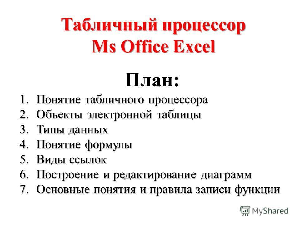 Табличный процессор Ms Office Excel План: 1.Понятие табличного процессора 2.Объекты электронной таблицы 3.Типы данных 4.Понятие формулы 5.Виды ссылок 6.Построение и редактирование диаграмм 7.Основные понятия и правила записи функции