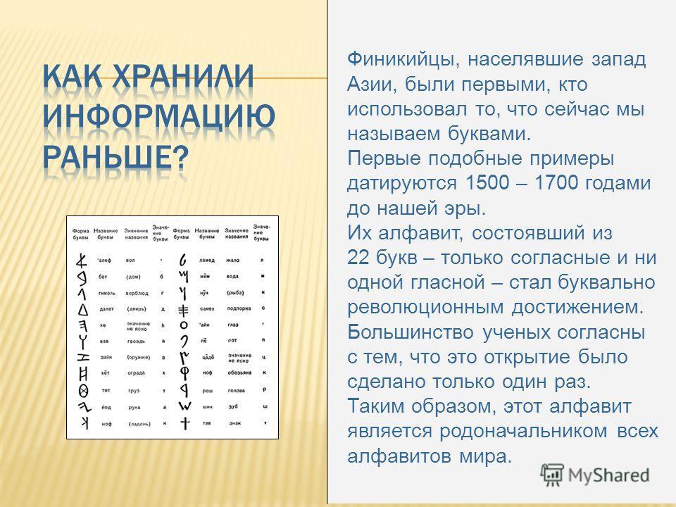 Финикийцы, населявшие запад Азии, были первыми, кто использовал то, что сейчас мы называем буквами. Первые подобные примеры датируются 1500 – 1700 годами до нашей эры. Их алфавит, состоявший из 22 букв – только согласные и ни одной гласной – стал бук