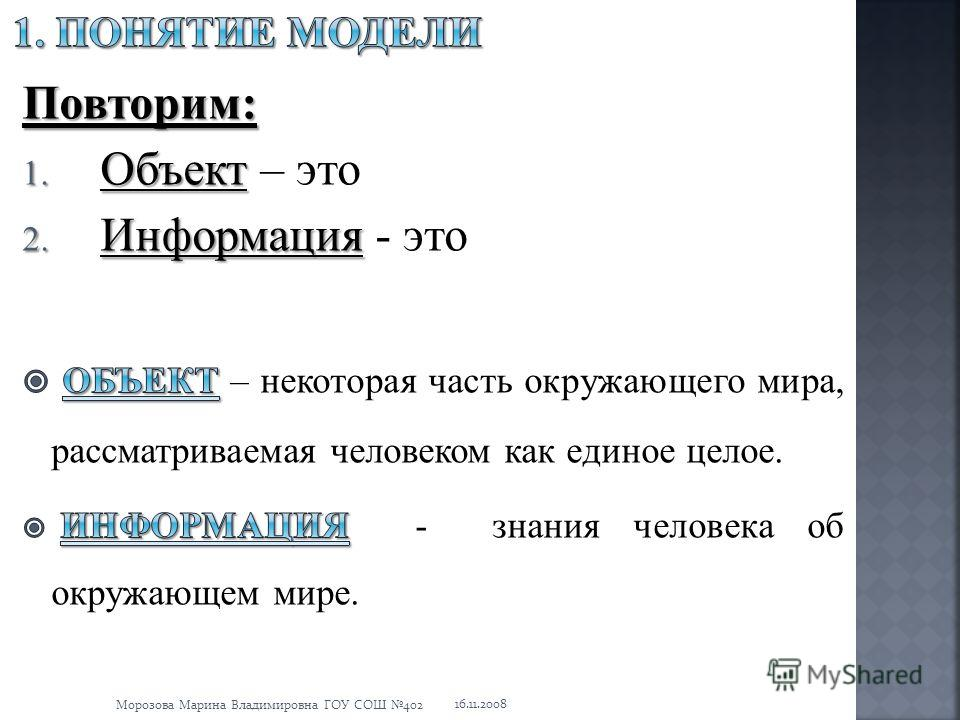 16.11.2008 Морозова Марина Владимировна ГОУ СОШ 402