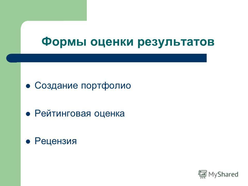 Формы оценки результатов Создание портфолио Рейтинговая оценка Рецензия