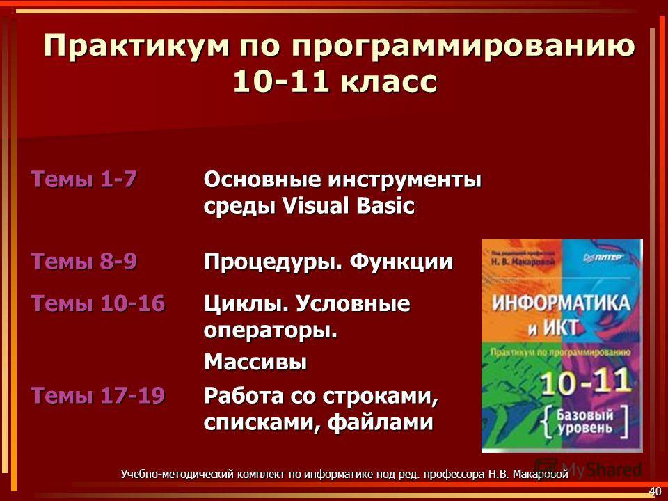 Практикум по программированию 10-11 класс Практикум по программированию 10-11 класс Темы 1-7 Основные инструменты среды Visual Basic Темы 8-9 Процедуры. Функции Темы 10-16 Циклы. Условные операторы. Массивы Темы 17-19 Работа со строками, списками, фа