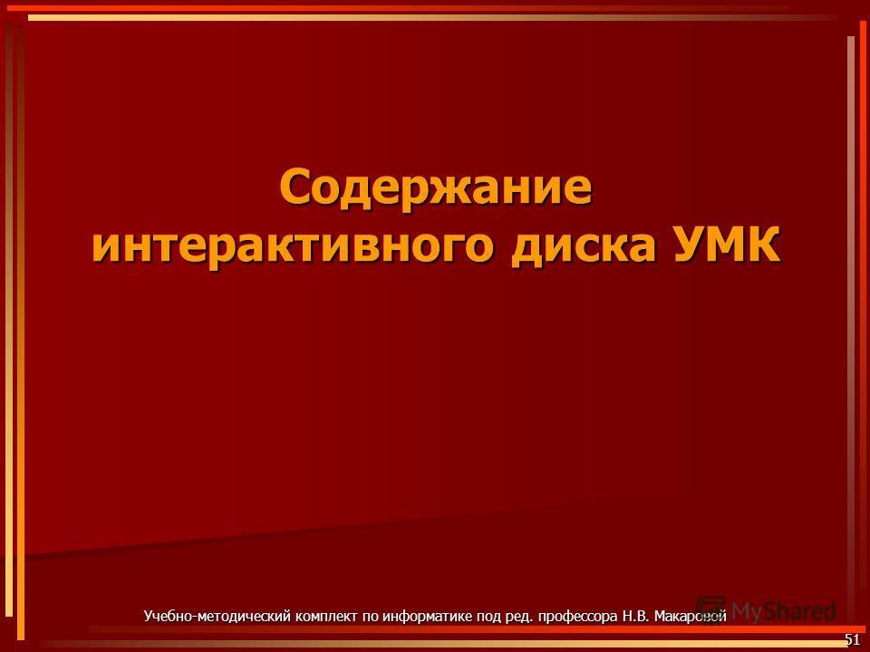 51 Содержание интерактивного диска УМК Учебно-методический комплект по информатике под ред. профессора Н.В. Макаровой