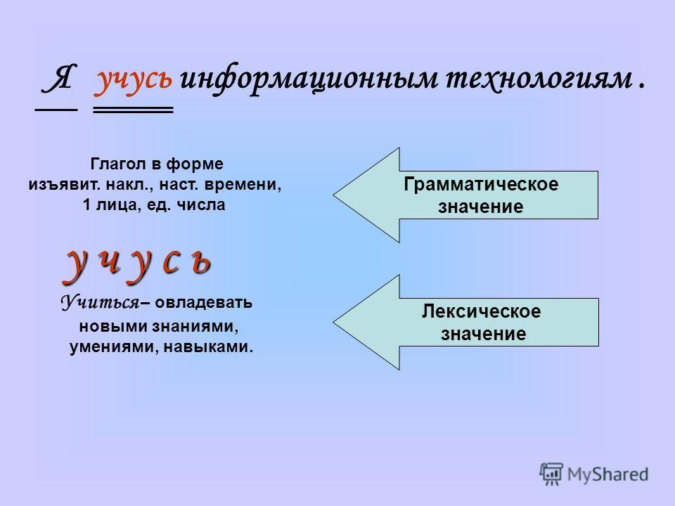 Я учусь информационным технологиям. Глагол в форме изъявит. накл., наст. времени, 1 лица, ед. числа Учиться – овладевать новыми знаниями, умениями, навыками. Грамматическое значение Лексическое значение у ч у с ь