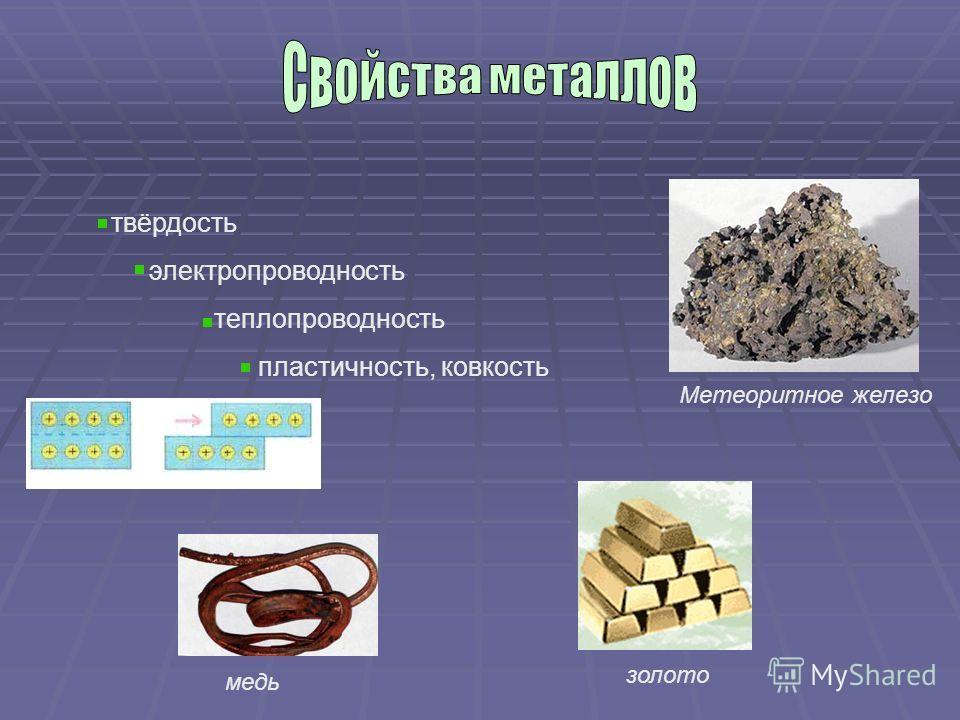 твёрдость электропроводность теплопроводность пластичность, ковкость Метеоритное железо золото медь