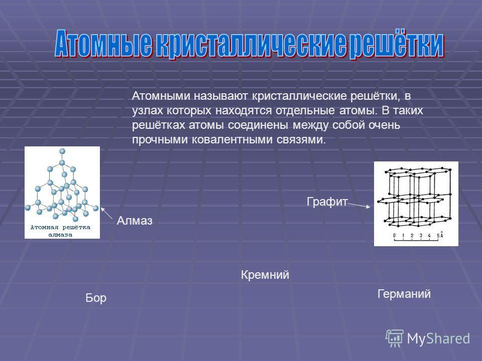 Атомными называют кристаллические решётки, в узлах которых находятся отдельные атомы. В таких решётках атомы соединены между собой очень прочными ковалентными связями. Алмаз Графит Кремний Германий Бор