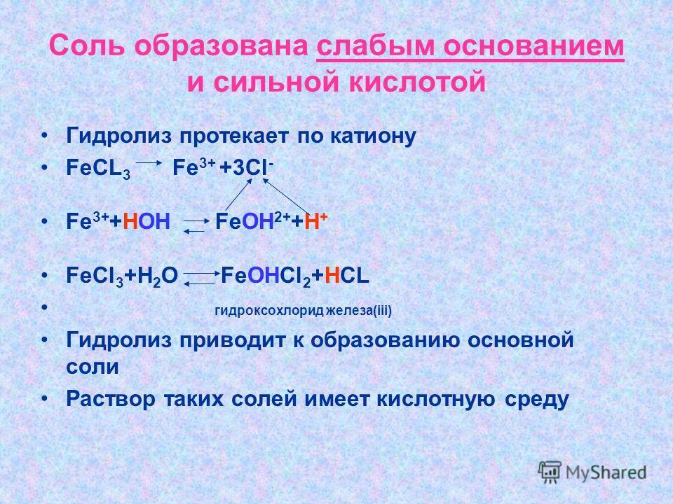 Соль образована слабым основанием и сильной кислотой Гидролиз протекает по катиону FeCL 3 Fe 3+ +3Cl - Fe 3+ +HOH FeOH 2+ +H + FeCl 3 +H 2 O FeOHCl 2 +HCL гидроксохлорид железа(iii) Гидролиз приводит к образованию основной соли Раствор таких солей им
