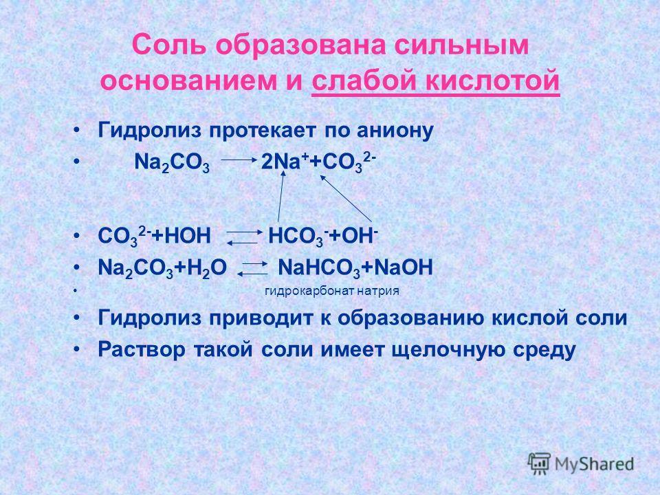 Соль образована сильным основанием и слабой кислотой Гидролиз протекает по аниону Na 2 CO 3 2Na + +CO 3 2- CO 3 2- +HOH HCO 3 - +OH - Na 2 CO 3 +H 2 O NaHCO 3 +NaOH гидрокарбонат натрия Гидролиз приводит к образованию кислой соли Раствор такой соли и