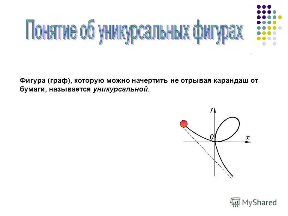 Фигура (граф), которую можно начертить не отрывая карандаш от бумаги, называется уникурсальной.