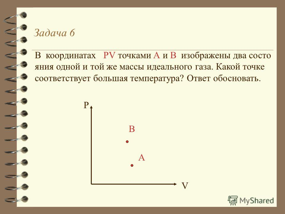 Задача 5(решение) T В А P1P1 P2P2 V 12 T В P1P1 P2P2 А V T1T1 T2T2 V 12 PвPв P1P1 PАPА P2P2 = = T2T2 T1T1 > P2P2 >P1P1 PАPА PвPв > P1P1 T1T1 P2P2 T2T2 m,m,- const V1V1 V2V2 =