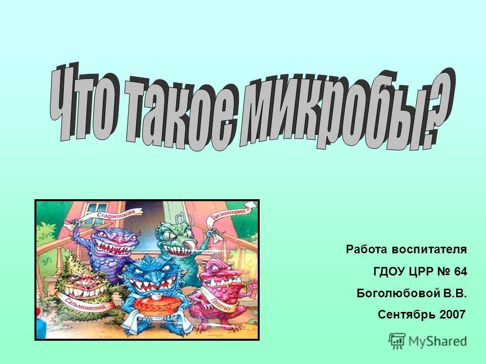 Работа воспитателя ГДОУ ЦРР 64 Боголюбовой В.В. Сентябрь 2007