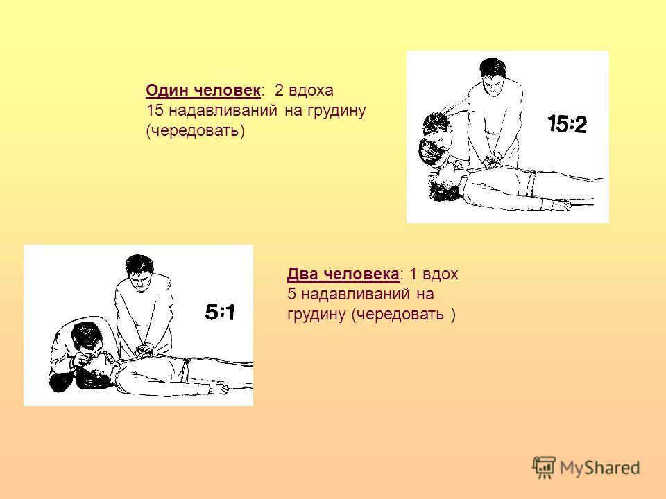 Два человека: 1 вдох 5 надавливаний на грудину (чередовать ) Один человек: 2 вдоха 15 надавливаний на грудину (чередовать)