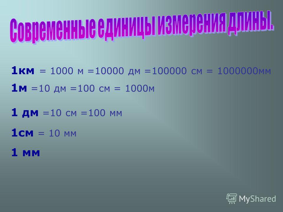 1км = 1000 м =10000 дм =100000 см = 1000000мм 1м =10 дм =100 см = 1000м 1 дм =10 см =100 мм 1см = 10 мм 1 мм