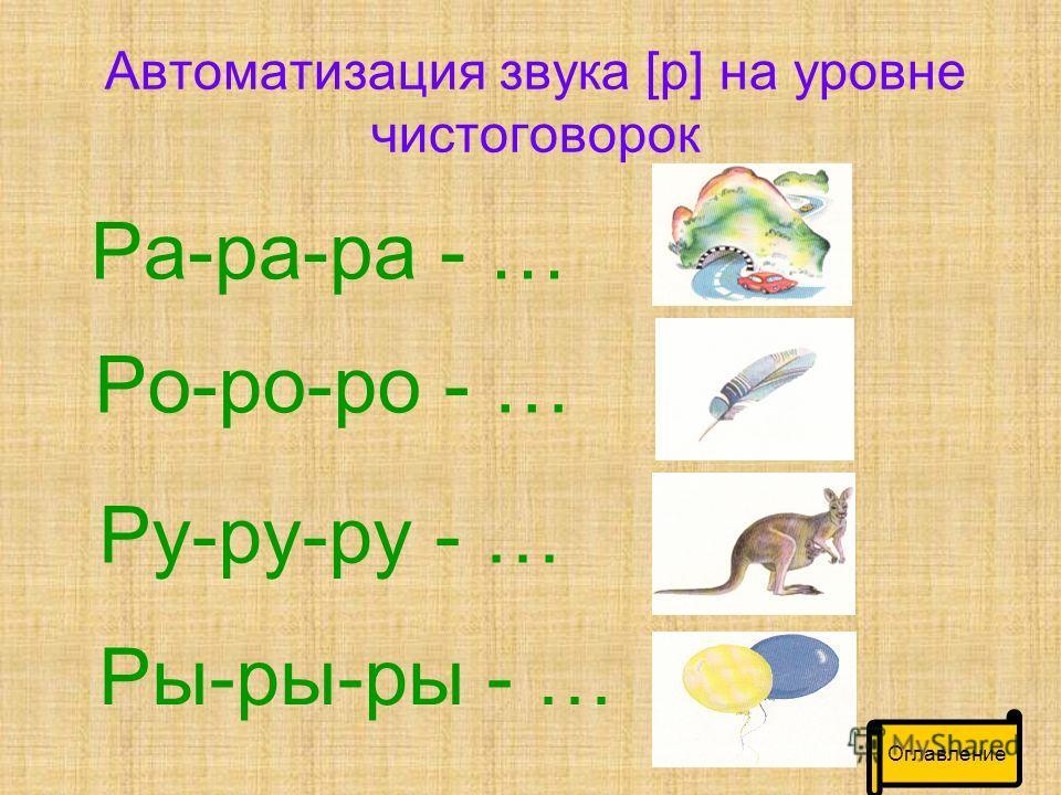 Автоматизация звука [р] на уровне чистоговорок Ра-ра-ра - … Ро-ро-ро - … Ру-ру-ру - … Ры-ры-ры - …