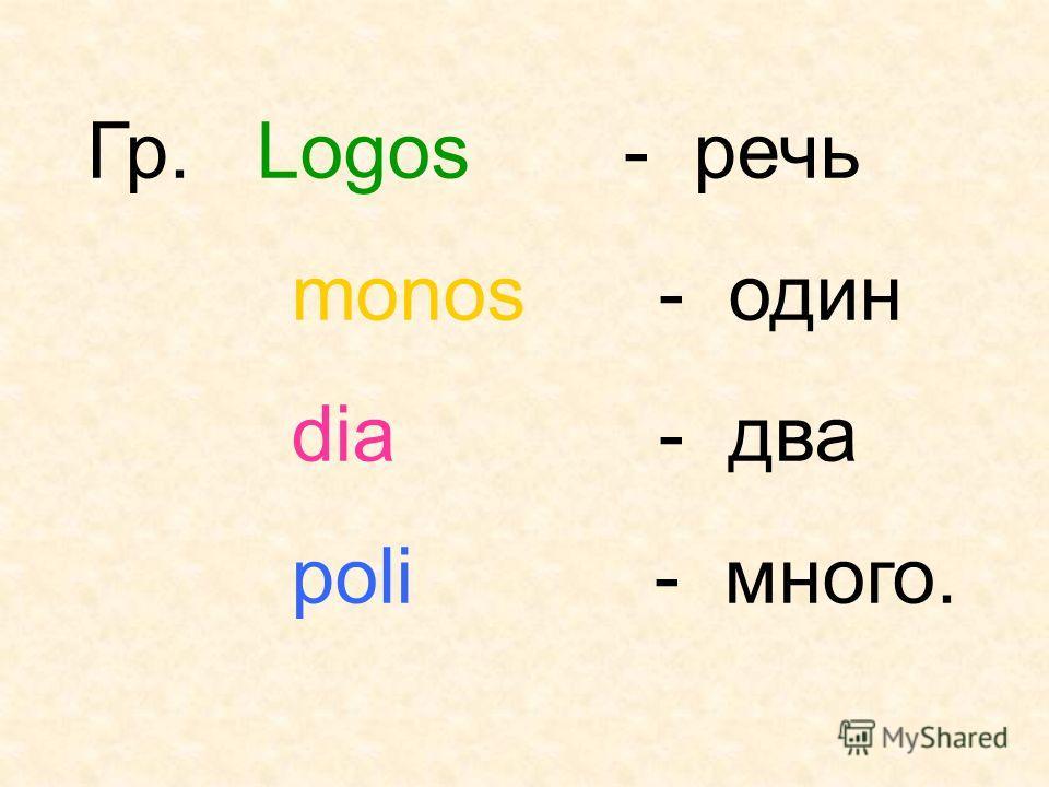 Гр. Logos - речь monos - один dia - два poli - много.