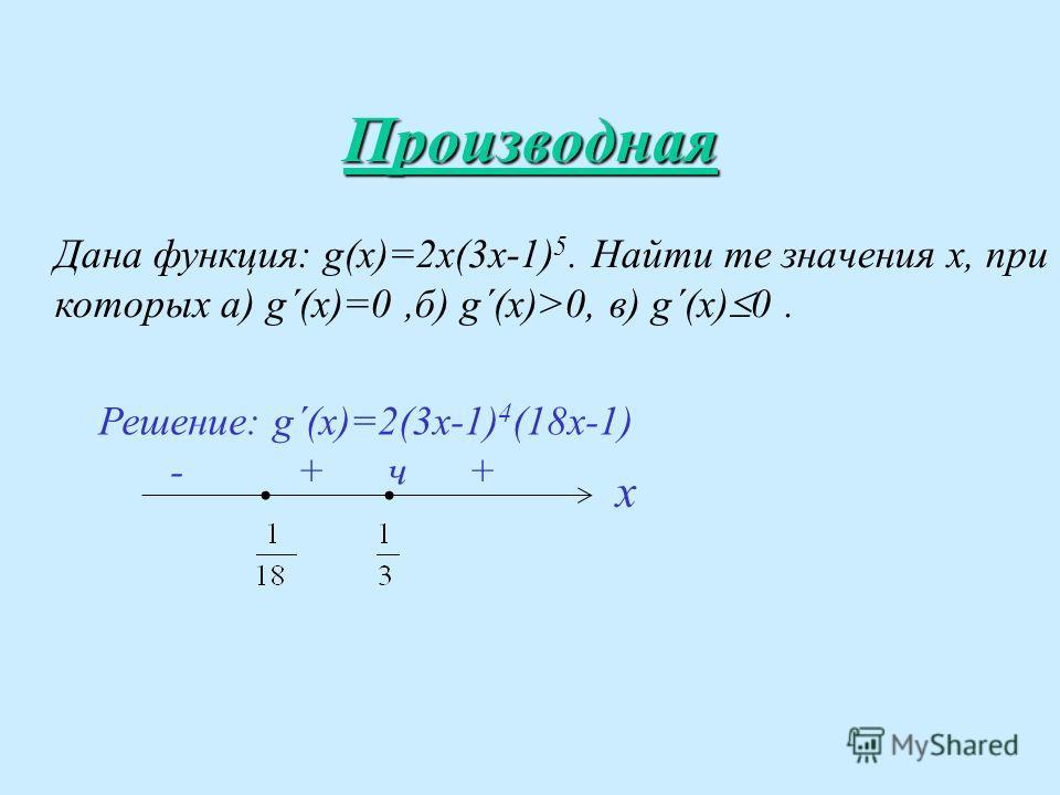 Производная Дана функция: g(х)=2х(3х-1) 5. Найти те значения х, при которых а) g´(x)=0,б) g´(x)>0, в) g´(x) 0. Решение: g´(x)=2(3x-1) 4 (18x-1) - + ч + х