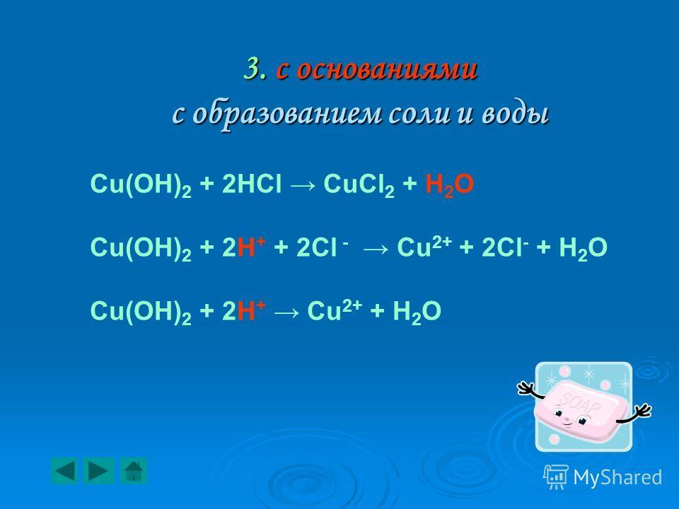 3. с основаниями с образованием соли и воды Cu(OH) 2 + 2HCl CuCl 2 + H 2 O Cu(OH) 2 + 2Н + + 2Сl - Cu 2+ + 2Cl - + H 2 O Cu(OH) 2 + 2Н + Cu 2+ + H 2 O