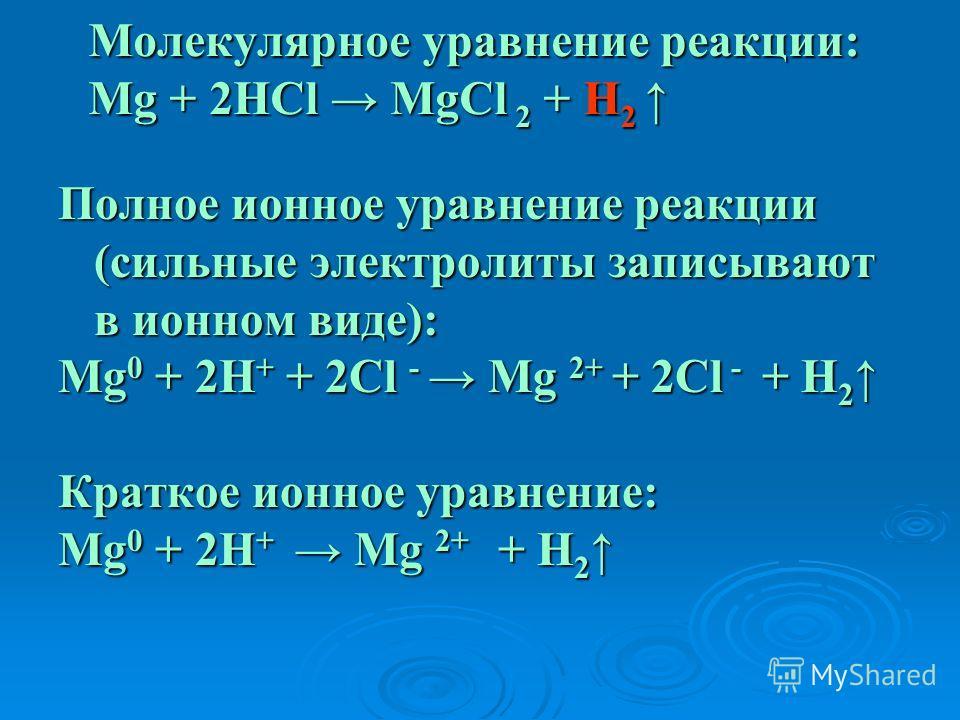 Молекулярное уравнение реакции: Mg + 2HCl MgCl 2 + H 2 Молекулярное уравнение реакции: Mg + 2HCl MgCl 2 + H 2 Полное ионное уравнение реакции (сильные электролиты записывают в ионном виде): Mg 0 + 2H + + 2Cl - Mg 2+ + 2Cl - + H 2 Mg 0 + 2H + + 2Cl -