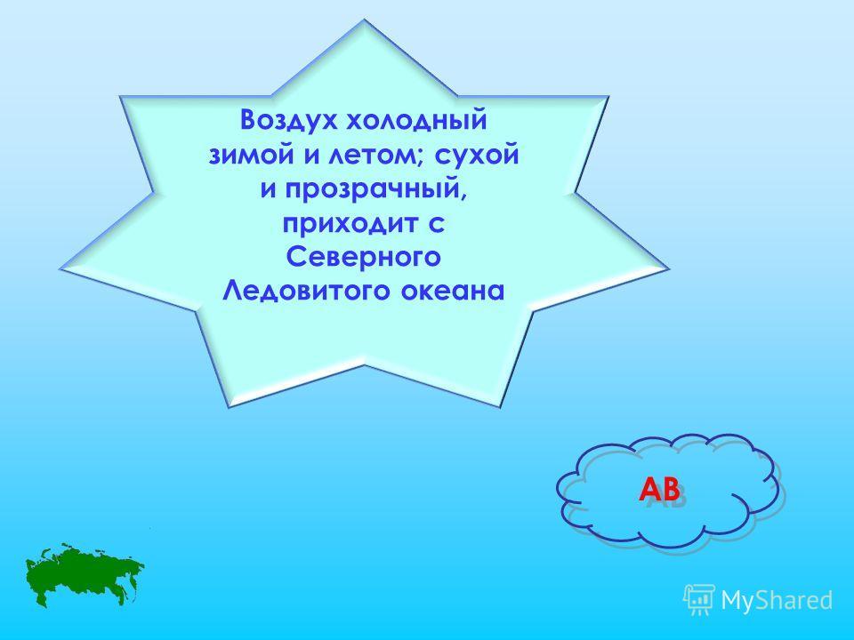 Воздух холодный зимой и летом; сухой и прозрачный, приходит с Северного Ледовитого океана АВ