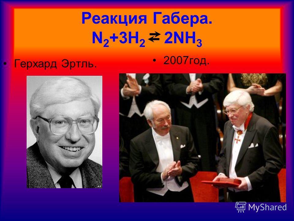Реакция Габера. N 2 +3H 2 2NH 3 Герхард Эртль. 2007год.