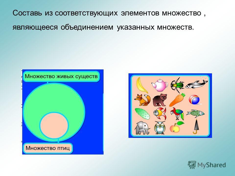 Составь из соответствующих элементов множество, являющееся объединением указанных множеств.