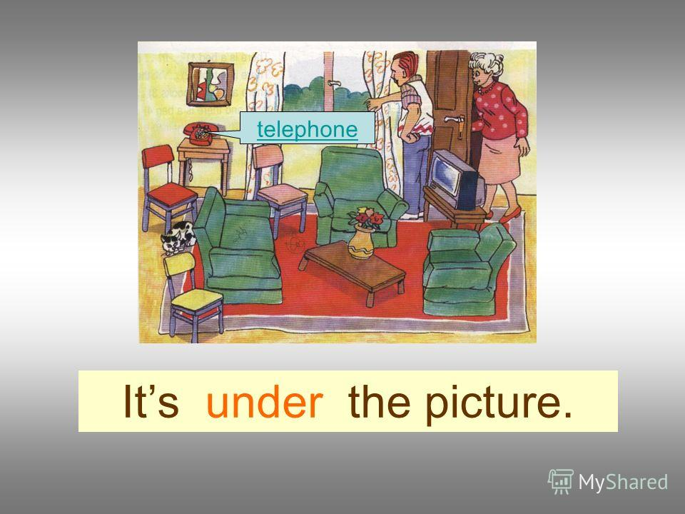 Its under the picture. telephone
