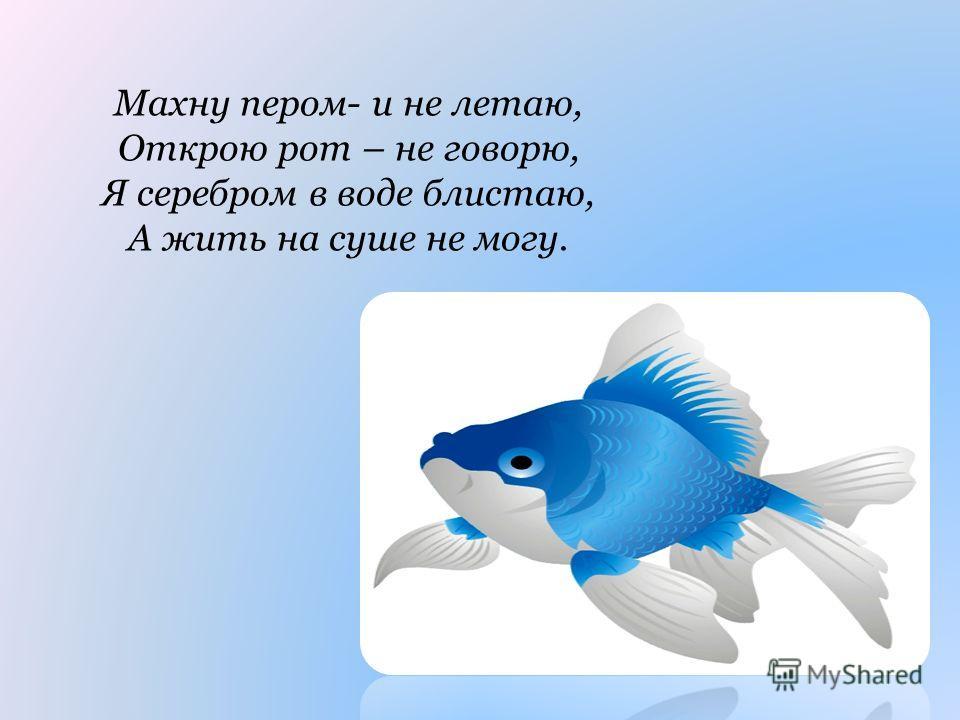 Махну пером- и не летаю, Открою рот – не говорю, Я серебром в воде блистаю, А жить на суше не могу.