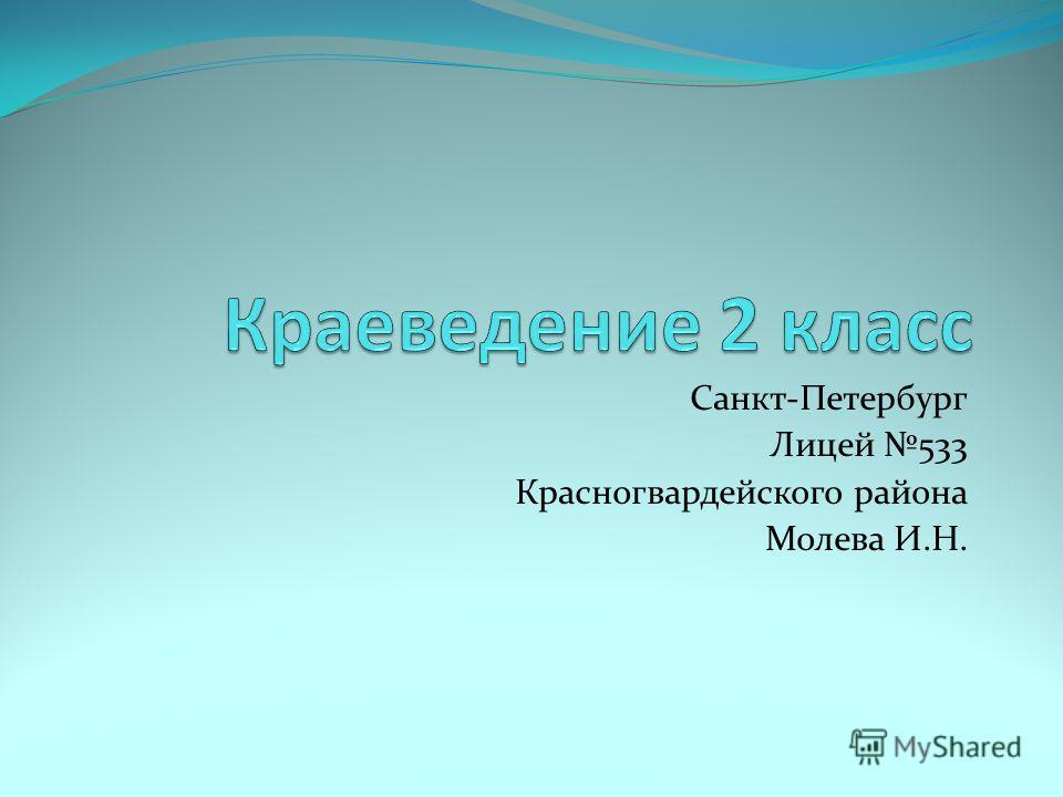 Санкт-Петербург Лицей 533 Красногвардейского района Молева И.Н.