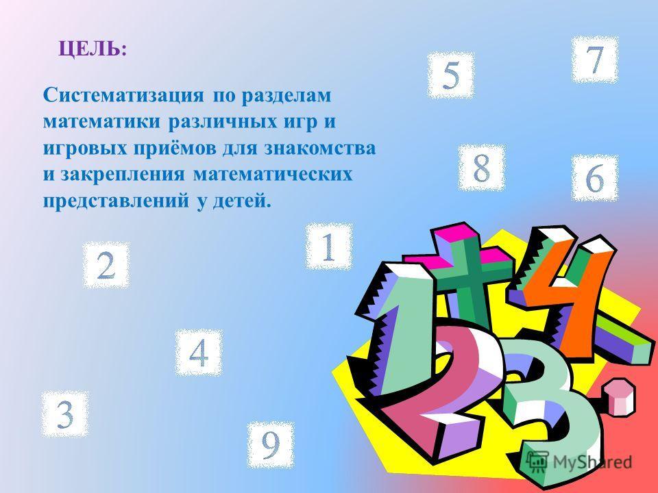 ЦЕЛЬ : Систематизация по разделам математики различных игр и игровых приёмов для знакомства и закрепления математических представлений у детей.