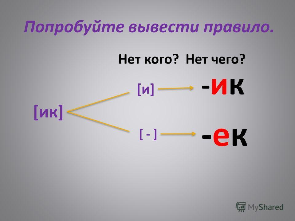 Попробуйте вывести правило. [ик] Нет кого? Нет чего? [и][и] [ - ] -ик-ик -ек-ек