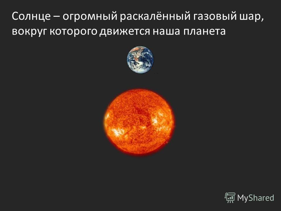 Солнце – огромный раскалённый газовый шар, вокруг которого движется наша планета