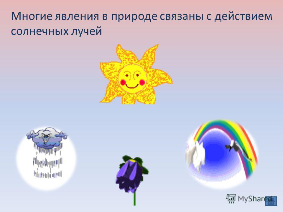 Многие явления в природе связаны с действием солнечных лучей