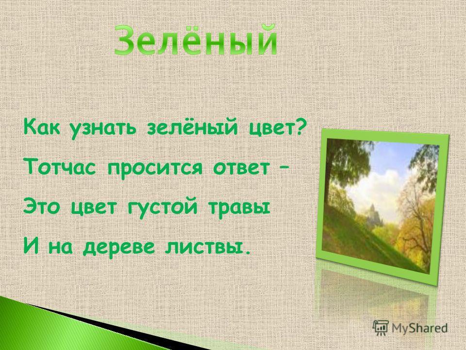 Как узнать зелёный цвет? Тотчас просится ответ – Это цвет густой травы И на дереве листвы.