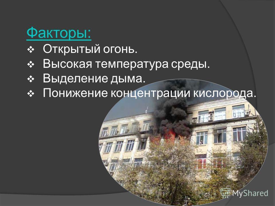 Факторы: Открытый огонь. Высокая температура среды. Выделение дыма. Понижение концентрации кислорода.