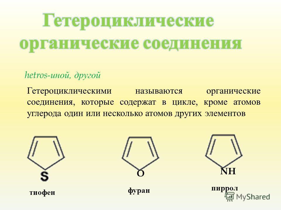 hetros- иной, д ругой Гетероциклическими называются органические соединения, которые содержат в цикле, кроме атомов углерода один или несколько атомов других элементов O NH тиофен фуран пиррол