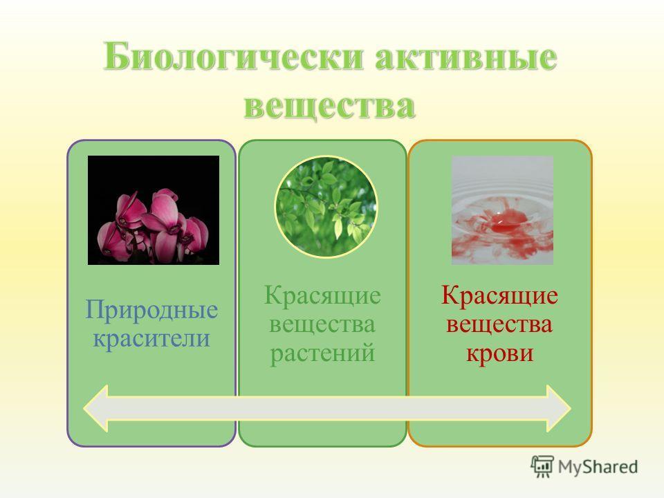 Природные красители Красящие вещества крови Красящие вещества растений