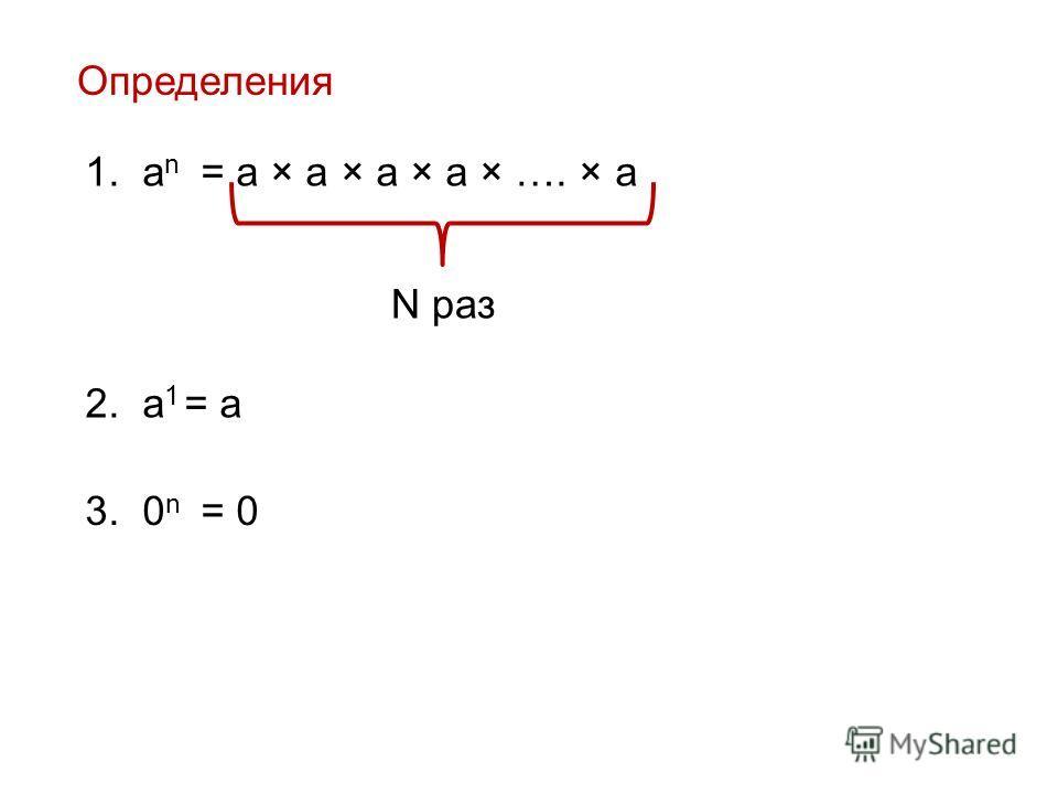 Определения 1. a n = a × a × a × a × …. × a N раз 2. a 1 = a 3. 0 n = 0