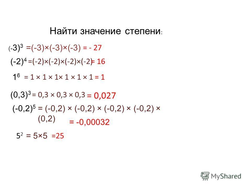 Найти значение степени : (- 3) 3 (-2) 4 5252 1616 (0,3) 3 (-0,2) 5 =(-3)×(-3)×(-3) = - 27 =(-2)×(-2)×(-2)×(-2)= 16 = 5×5 =25 = 1 × 1 × 1× 1 × 1 × 1= 1 = 0,3 × 0,3 × 0,3 = 0,027 = (-0,2) × (-0,2) × (-0,2) × (-0,2) × (0,2) = -0,00032